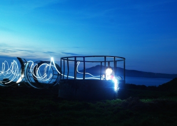 From the first Enlli Residnecy -Light graffiti in a sculpture made of Cattle feeders